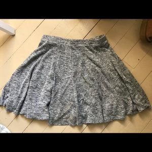 Grey heathered cotton skater skirt